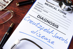 Medical form with diagnosis Creutzfeldt-Jakob disease. Medical form with diagnosis Creutzfeldt-Jakob disease in a hospital royalty free stock photo
