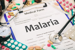 Medical form, diagnosis malaria stock images
