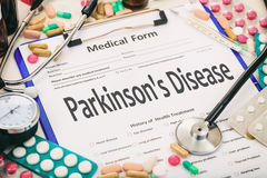 Medical form, diagnosis parkinson`s disease stock photo
