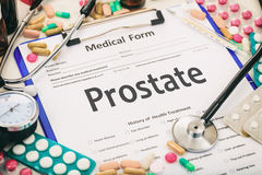 Medical form, diagnosis prostate stock photo