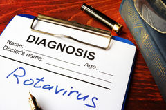 Medical form with diagnosis Rotavirus. stock image