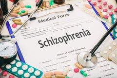 Medical form, diagnosis schizophrenia Stock Photo