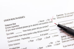 Medical form questionnaire Royalty Free Stock Image