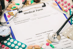 Medical form on a table stock image