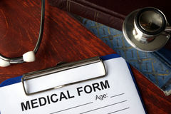 Medical form on a table. royalty free stock images