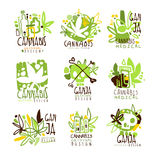Medical Ganja Colorful Graphic Design Template Logo Series,Hand Drawn Vector Stencils Royalty Free Stock Photography