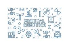 Medical Genetics vector medicine concept linear illustration. Medical Genetics vector medicine concept horizontal illustration in thin line style vector illustration