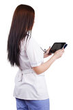 Medical girl worker with electronic tablet in hands Stock Photography