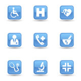 Medical Glossy Icons Set. Vector set of health and medical web icon and design elements on blue glossy badges for hospital, ambulatory, clinic or other health vector illustration
