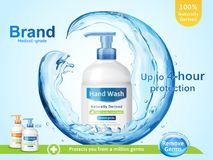 Medical grade hand wash ads. Flowing clear liquid splashing around the dispenser bottle in 3d illustration royalty free illustration