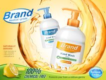 Medical grade hand wash ads. Flowing clear liquid splashing around the dispenser bottle in 3d illustration, lemon perfume royalty free illustration