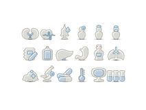 Medical gray blue icons Royalty Free Stock Photography