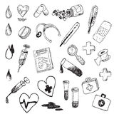 Medical hand draw element  Royalty Free Stock Photos