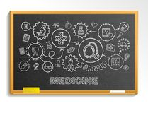 Medical hand draw integrate icon set on school blackboard Royalty Free Stock Photography