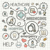 Medical hand draw integrated color icons set. Vector sketch infographic illustration with line connected doodle hatch pictograms on paper: healthcare, medicine Royalty Free Stock Image