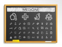 Medical hand drawing line icons. chalk sketch sign illustration on blackboard Royalty Free Stock Image