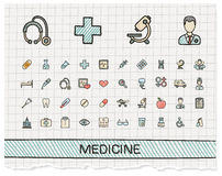 Medical hand drawing line icons. Royalty Free Stock Photo