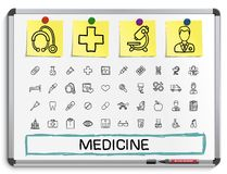 Medical hand drawing line icons. Royalty Free Stock Images