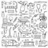 Medical  hand drawn doodle set Stock Photos