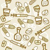 Medical hand drawn seamless pattern Royalty Free Stock Photo