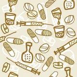 Medical hand drawn seamless pattern. Hand drawn illustration of medical equipments Royalty Free Stock Photo