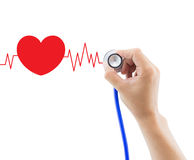 Medical, hand holding stethoscope for diagnose heart graph Stock Images