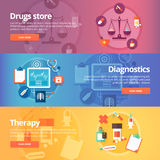 Medical and health banners set. Drug store. Pharmacy. Diagnosis. Therapy. Medicine. Pills. Modern flat vector illustrations. Horizontal banners Stock Photography