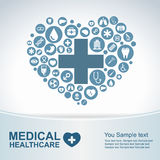 Medical Health care background , circle icons to become heart stock illustration