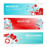 Medical health care banners. Three horizontal health care banners with medical emblems and emergency first aid kit symbols abstract vector illustration Stock Photography