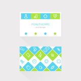 Medical and Health Care Card. Lined Icons Design Royalty Free Stock Image