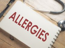 Medical and Health Care Concept, Allergies. Medical and health care words writing typography lettering concept, Allergies royalty free stock photo