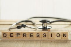 Medical and Health Care Concept, Depression. Medical and health care words writing typography lettering concept, Depression royalty free stock image
