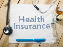 Medical and Health Care Concept, Health Insurance. Medical and health care words writing typography lettering concept, Health Insurance stock photo