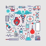 Medical, health care concept in modern flat line design. Vector Royalty Free Stock Image