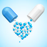 Medical Health Care Concept Polls with Heart. Vector. Medical Health Care Concept Polls with Heart Symbol Science Pharmacology. Vector illustration Stock Image