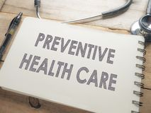Medical and Health Care Concept, Preventive Health Care. Medical and health care words writing typography lettering concept, Preventive Health Care royalty free stock photography