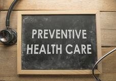 Medical and Health Care Concept, Preventive Health Care. Medical and health care words writing typography lettering concept, Preventive Health Care royalty free stock photos