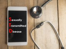 Medical and Health Care Concept, STD Sexually Transmitted Disease. Medical and health care words writing typography lettering concept, STD Sexually Transmitted royalty free stock photography