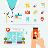 Medical, Health care and emergency concept. First aid, medicines. Pharmacy. Flat design modern vector illustration of medical icons Royalty Free Stock Image