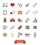 Medical and Health Care Filled Line Icon Set. Collection of 25 medical and healthcare related filled line icons Stock Images