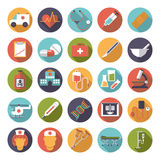 Medical and Health Care Flat Design Vector Icons Collection. Set of 25 medical and healthcare related icons in circles, flat design, long shadow Stock Photo