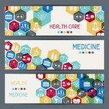 Medical and health care horizontal banners Royalty Free Stock Image