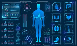 Medical Health Care Human Virtual Body Hi Tech Diagnostic Panel, Medicine Research. Illustration Vector stock illustration