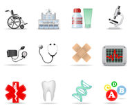 Medical and health-care icons. Part 1. Set of 12 medical and health care icons Stock Photo