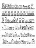 Medical and Health Care Icons. Pharmacy shelves Royalty Free Stock Images