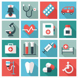 Medical and health-care icons. Set of 16 medical icons. Flat design royalty free illustration