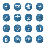 Medical and Health Care Icons Set. Flat Design. Long Shadow. Royalty Free Stock Photo