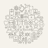 Medical Health Care Line Icons Set Circular Shaped Stock Images