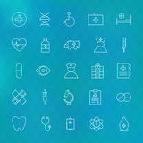 Medical and Health care Line Icons Set over Polygonal Blurred Ba Royalty Free Stock Photography