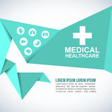 Medical Health care Paper Origami Polygonal Shape vector background Stock Image